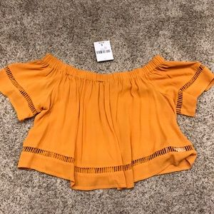Orange Off the Shoulder Forever21 Shirt NWT